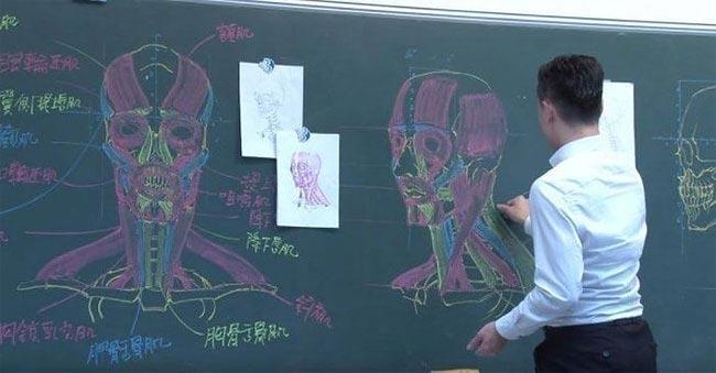 Учитель демонстрирует невероятные навыки рисования мелом на доске (ФОТО)