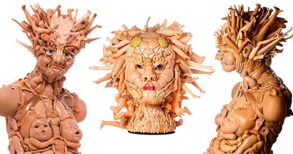 Это вам не игрушки: скульптор создает человекоподобные фигуры из старых кукол (ФОТО)
