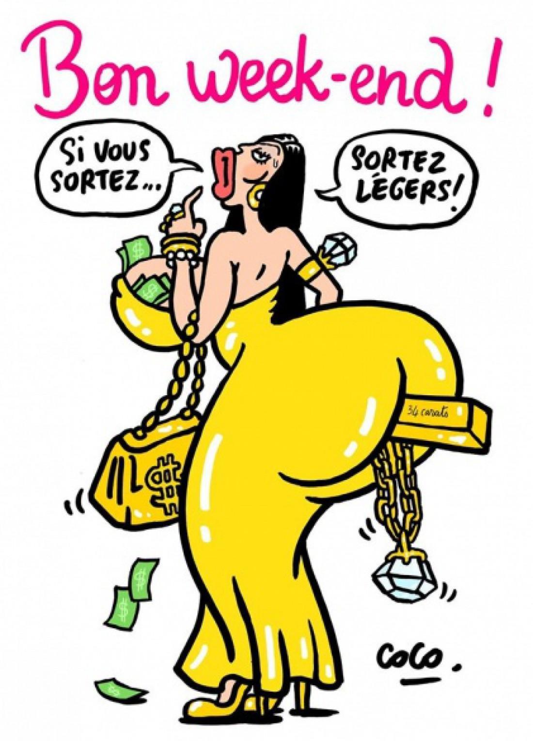 Скандальный журнал Charlie Hebdo представил карикатуру на Ким Кардашян (ФОТО)
